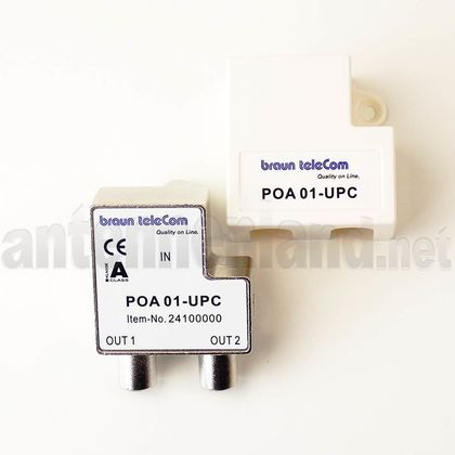 POA 01-UPC - TV-Splitter / 2-Port Push-on Adapter für Antennendosen, 1x TV auf 2x TV
