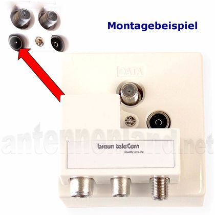 POA 03-UPC - 3-fach TV-Verteiler / 3-Port Push-on Adapter für Antennendosen, 1x TV auf 3x TV